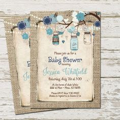 Rustic Baby Shower Invitation Burlap Invite by WallflowerEvents