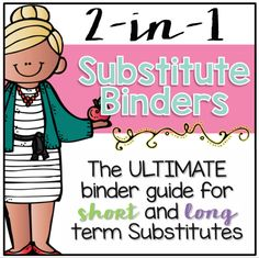 EDITABLE | Never feel unprepared for a substitute again with this dual-purpose, editable substitute binder for both short and long term substitutes. This binder is intended to provide you, the teacher, with everything you need to have well prepared day(s) planned for your substitute teacher. Have an organized, well put together substitute binder for your days out that is not only easy to put together, but stylish with Melonheadz graphics! See it ALL by watching the video preview HERE. What all i Classroom Procedures, Classroom Jobs, Classroom Management, Classroom Setup, Substitute Binder, Substitute Teacher, Teacher Page, Teacher Notes, Teacher Stuff