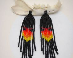 Modern Native American Beaded Earrings Turquoise Sun by CrownRoots