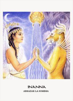 Inanna Goddess Oracle Card, Amy Sophia Marashinsky and Hrana Janto (illustrator) Goddess Art, Goddess Of Love, Durga Goddess, Ishtar Goddess, Aliens, Cat Medicine, Ancient Mesopotamia, Ancient Mysteries, Gods And Goddesses