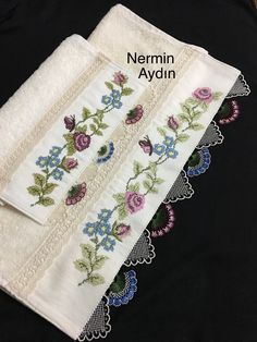 This Pin was discovered by Gül Towel Embroidery, Machine Embroidery, Crochet Diagram, Needle Lace, Ribbon Work, Fabric Painting, Bargello, Crochet Flowers, Cross Stitch Patterns