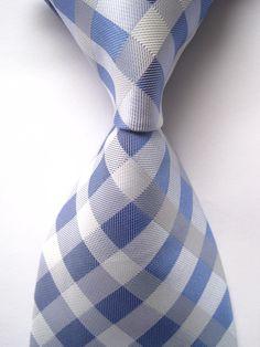 New arrive Classic Plaid Blue White JACQUARD WOVEN 100% Silk Men's Tie Necktie B5