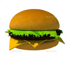 The perfect hamburger 3D render isolated on white background. Include JPG and transparent PNG