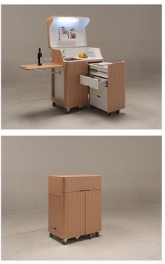 Kenchikukagu Mobile Furniture - kitchen cart but modify it as a computer workstation, what a great space saver!