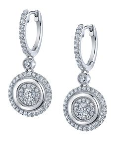 Sylvie S Chic Round Diamond Dangle Earrings Lend Themselves To A Modern Silhouette Such As An