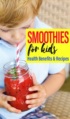 21 Easy And Healthy Smoothie Recipes For Kids : Your kids diet should have fruits and veggies for complete nutrition. But when he does not eat them in their solid form you might want to consider smoothies. Healthy Smoothies For Kids, Smoothie Recipes For Kids, Yummy Smoothies, Healthy Kids, Baby Food Recipes, Healthy Snacks, Cooking Recipes, Cooking Rice, Green Smoothies