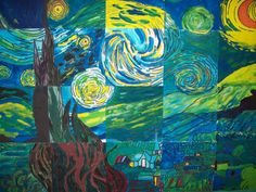 """The Starry Night """"This morning I saw the countryside from my window a long time before sunrise, with nothing but the morning star, which looked very big,"""" wrote Van Gogh to his brother Theo,… Group Art Projects, Collaborative Art Projects, Starry Night Art, Starry Nights, Van Gogh Art, Art Lesson Plans, Art Classroom, Art Club, Teaching Art"""