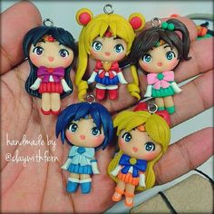 sailor moon polymer clay chams Best Picture For Polymer Clay Crafts canes For Your Taste You are looking for something, and it is going to tell you exactly what you are looking for, and you didn't fin Polymer Clay Figures, Cute Polymer Clay, Cute Clay, Polymer Clay Dolls, Polymer Clay Miniatures, Polymer Clay Projects, Polymer Clay Charms, Polymer Clay Creations, Clay Crafts