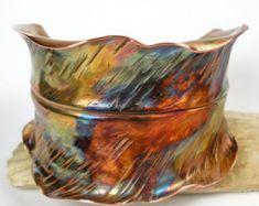 Hammered Copper Leaf Cuff, Womans Copper Cuff Bracelet, A Rustic Fold Formed Copper Autumn Leaf, Colorful Heat Patina- The Furled Leaf