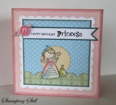 This is for a blog hop at JAI.  The challenge is to Just Add a Crown. For more info please visit my blog http://stampingstill.blogspot.com/2012/01/happy-princess.html   Ingredients :  Stamps : Little Princess  Card : pip, pink pirouette, white, baja, marina mist, subtles stack, watercolour paper  Ink : stazon, crumbcake  Other : big shot, scallop square die, square punch, subtle button, mat pack, white gel pen, circle punch, decorative trim die, watercolour crayons, dazzling diamonds