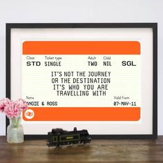 A personalised train ticket print featuring a romantic quote about our journey through life.The name and date sections of this print can be personalised so why not add the names and date of a happy couples wedding? Or the name and date of someones departure as they leave on their travels. Or an anniversary gift, Valentine's - the list of occasions is endless. The number of adults and children can also be amended to include the number of people within the recipients family. Please write your…
