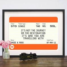 personalised train ticket print by of life & lemons | notonthehighstreet.com