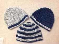 Newborn Baby Boy Crochet Beanie Hat Set of 3 Blue Shower Gift Handmade 0-3 month