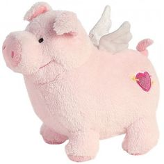 Pigasus, a flying stuffed pig from Aurora, features two little sparkly wings on its back, and a heart with an arrow going through it on its hip. This super soft, light pink pig stands tall. Pig Art, Kids Electronics, Flying Pig, Pull Toy, Dinosaur Stuffed Animal, Stuffed Animals, Little Pigs, Toys Shop, Love Valentines