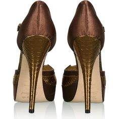 Terry de Havilland | Bronze Aries Platform Shoes by Terry de Havilland ($548) ❤ liked on Polyvore featuring shoes, pumps, heels, zapatos, sapatos, cipele, by terry, platform heels pumps, heel pump and bronze pumps