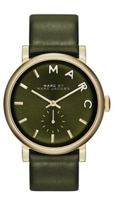 Marc by Marc Jacobs Women's Baker Olive Green Leather Strap Watch - Marc by Marc Jacobs - Jewelry & Watches - Macy's Olives, Marc Jacobs Jewelry, Marc Jacobs Watch, Green Leather, Modern Jewelry, Army Green, Military Green, Green And Gold, Luxury Watches