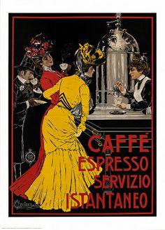 Caffe Espresso ~ Fine-Art Print - Vintage Coffee Art Prints and Posters - Vintage Advertisements Pictures Retro Poster, Poster S, Poster Prints, Art Prints, Art Posters, Poster Wall, Framed Prints, Food Posters, Canvas Prints