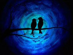 Glow in the Dark Love birds bird silhouette painting Orange to Blue Original Art Glow Painting acrylic wall decor by TrueAcrylics on Etsy https://www.etsy.com/listing/481755642/glow-in-the-dark-love-birds-bird