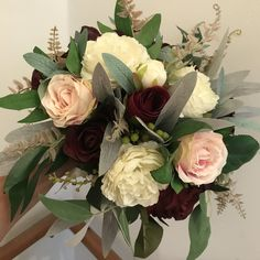 A bridal bouquet of artificial roses and hydrangea Artificial Wedding Bouquets, Silk Roses, Hydrangea, Berries, Floral Wreath, Bridal, Flowers, Floral Crown, Hydrangeas