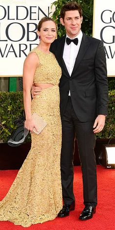 Emily Blunt in Michael Kors and John Krasinski at the Golden Globe Awards 2013 #RedCarpet #GoldenGlobes