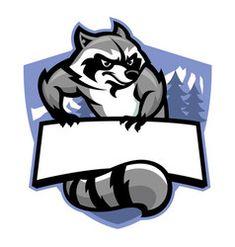 mascot of racoon with blank banner for text Illustration , Team Logo Design, Badge Design, Logo D'art, Logo Free, Logo Minimalista, Esports Logo, Banners, Retro Logos, Racoon