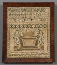 """Needlework Sampler, """"Mary Anne Drought/Droughtville Forest/1807,"""" Ireland"""