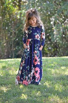 Navy Floral Pocket Maxi, Dress, Maxi, Sleeve Dress, Floral Dress, Ryleigh Rue Clothing, online shopping, Online Boutique, Boutique, Fashion, Style, Cute, Kids Boutique #KidsFashionDress