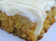 Miss Susan's Pineapple Sheet Cake - Ingredient 2 cups AP flour 2 cups sugar 2 tsp. salt 2 eggs 20 ounce can (about 2 cups) crushed pineapple, in juice, don't drain 1 tsp. vanilla cup nuts- I left out due to allergies Mix all together … Food Cakes, Just Desserts, Dessert Recipes, Quick Dessert, Dessert Dishes, Recipes Dinner, Breakfast Recipes, Yummy Treats, Sweet Treats