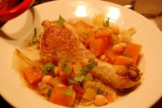 Charchoura   (Algerian Pumpkin, Chickpea, and Chicken Stew Served over Bread)
