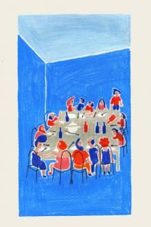 Dinner with friends by Sol Undurraga Juan Palomino, Dinner With Friends, Giclee Print, Triangle, Artist, Prints, Painting, Products, Riding Bikes