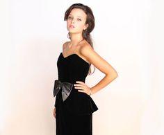 On Sale .. Black Velvet Dress . Cocktail by VelvetCrushVintage