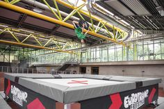 German freeski and snowboard team is testing a Eurotramp #Freestyle #Fivesquare #Trampoline at Olympic Park Munich.