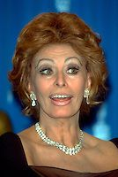SOPHIA LOREN.At The Oscars, Academy Awards, Los Angeles, CA, USA,.21st March 1999..portrait headshot diamond earrings necklace jewellery Sofia.CAP/LA.©LA/Capital Pictures.