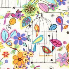 bird cage flower animal fabric Alexander Henry USA