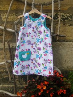 Reversible Dress, girls pinafore, retro style, shift dress, 2 in 1,chintzy, retro pinafore, cotton, poplin, applique heart, needle cord by beadiesbyjo on Etsy