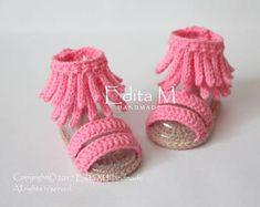 Crochet sandalias bebé sandalias gladiador zapatillas de