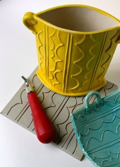Linoleum Impressed Slab Pottery-use those soft cut squares!