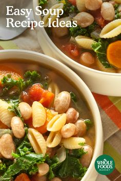 Easy Soup Recipe Ideas // Full to the brim with delicious veggies and other satisfying ingredients, these soups can stand alone at dinnertime. Choose from comforting recipes like Quinoa Vegetable, Indian Red Lentil, or Miso with Garlic and Ginger. Find your next bowl of deliciousness at Whole Foods.