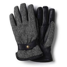 Harris Tweed/Leather Glove, 13206BW Black/White Harris Tweed/Leather Glove