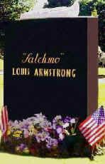 Louis Armstrong 4th July 1900 - 6th July 1971 Jazz Musician & Singer Flushing Cemetery, Queens, New York.