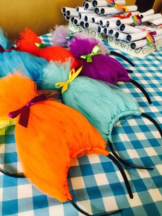 What a fun party favor Trolls headband at this Trolls Party Birthday Party!! See more party ideas and share yours at CatchMyParty.com