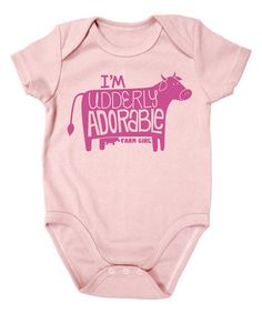 Look at this #zulilyfind! Baby Pink 'Udderly Adorable' Bodysuit - Infant by Farm Girl #zulilyfinds