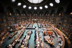 Most Beautiful Libraries: Bibliotheque Nationale de France.  Reading room in the historic building in rue de Richelieu