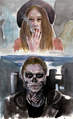 American horror story murders house- Tate and Violet - watercolors - artist Luana Vecchio