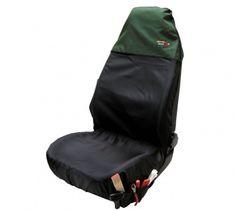 Der Vordersitzbezug lässt sich mit wenigen Handgriffen ganz einfach über den Sitz ziehen und mithilfe der Gurte fixieren.