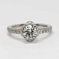 A Perfect 1CT Round Cut Halo Russian Lab Diamond Bridal Set Wedding Band Ring
