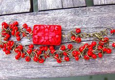 Ethnic Bracelet Red Handmade jewelry Beaded Jewelry Wedding jewelry Gypsy Hippie Boho chic Shabby chic Tribal