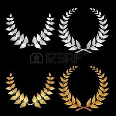 Silver and Gold Wreath sports, symbol of victory in the vector photo