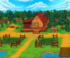 Stardew Valley is an open-ended country-life RPG with support for players. Stardew Valley Farms, Stardew Valley Tips, Stardew Valley Fanart, Valley Game, Harvest Moon, Legend Of Zelda, Country Life, Animal Crossing, Game Art
