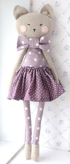 Her skirt is (gently) removable and she can be spot-cleaned. Her arms are jointed with little wooden heart-shaped buttons and she can stretch the Softies, Doll Toys, Baby Dolls, Fabric Animals, Fabric Toys, Cat Doll, Sewing Dolls, Baby Girl Gifts, Stuffed Animal Patterns